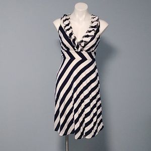 INC navy/white striped ruffle dress size small